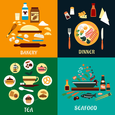 Set of flat food infographics for Bakery, Dinner, Tea and Seafood with colorful various ingredients around a central theme, product or cooked food item Vector