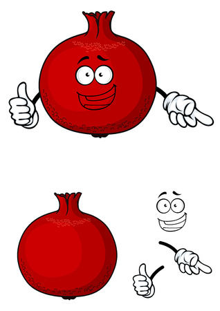 pomegranate: Happy cartoon red pomegranate fruit with a smiling face giving a thumbs up, with a second plain variant with separate elements, for nutrition and agricuture design Illustration