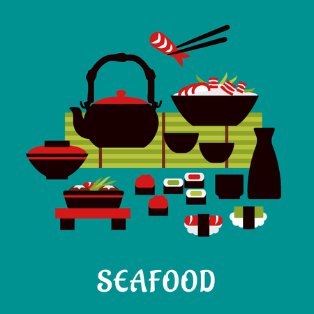 sashimi: Japanese seafood with sashimi and sushi rolls below a table set with a teapot, fresh salad and bowl of rice and prawns with one held in chopsticks Illustration