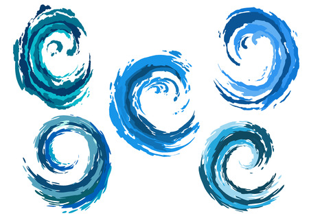 Blue rounded sea waves set in surf or storm for nature, environment or another conceptual design Ilustração