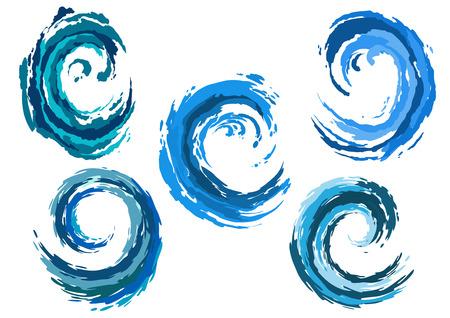 splash de agua: Las olas del mar redondeadas azules establecidos en el surf o tormenta por la naturaleza, el medio ambiente o en otro dise�o conceptual