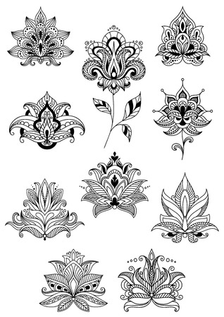 Indian, persian and turkish paisley flowers set in outline style for design and ornate floral ornaments or patterns