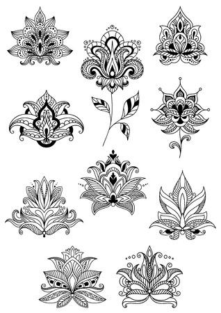 indische muster: Indische, persische und türkische Paisley-Blumen im Umriss-Stil für Design und verzieren florale Ornamente oder Muster eingestellt Illustration