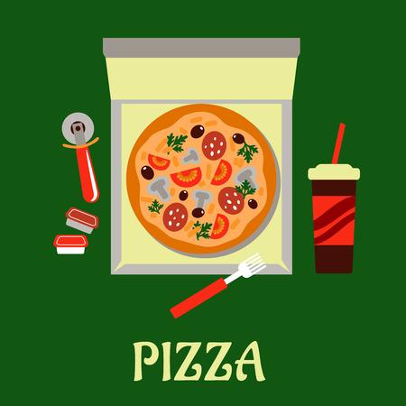 condimentos: Pizza para llevar con una vista a�rea de una pizza en una caja de comida r�pida, rodeado por una rueda de pasteler�a, condimentos y bebidas gaseosas Vectores