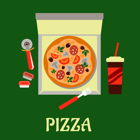condiments: Takeaway pizza with an overhead view of a pizza in a fast food box surrounded by a pastry wheel, condiments and soda drink Illustration