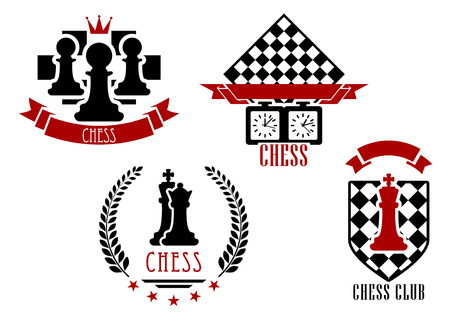 chess game: Chess game sports and emblems set isolated on white with red and black figures