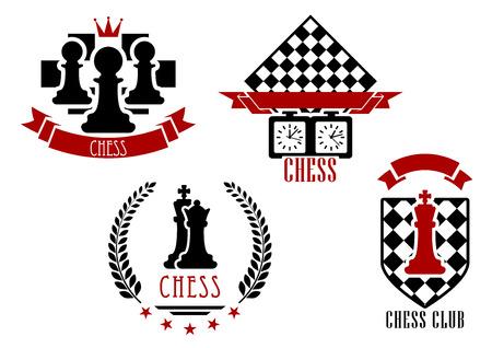 chess knight: Deportes del juego de ajedrez y emblemas conjunto aislado en blanco con figuras rojas y negras