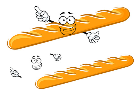 Happy cartoon golden baguette character with waving hands and a big smile with a second plain variant with separate elements