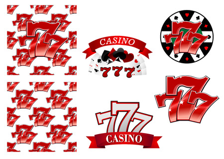 lucky sign: Colorful red casino and gambling emblems or badges depicting the iconic lucky numbers 777 as seamless patterns, with banners and playing cards