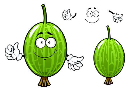 grosella: Lindo personaje de dibujos animados grosella espinosa fruta verde con la cara feliz y las manos Vectores