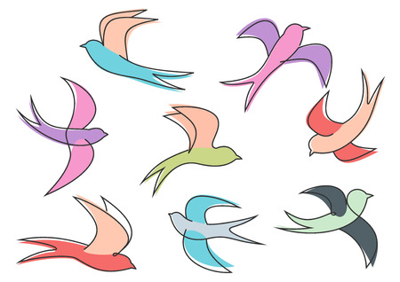 Graceful colorful flying swallow birds looping through the air, for freedom or environment concept design