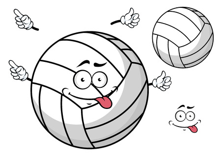 tongue out: Cartooned volleyball ball with cute face and  tongue out and little hands for sport mascot design