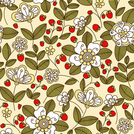 red berries: Colorful strawberry floral seamless pattern with white flowers and red berries on trailing vines in pastel muted shades Illustration