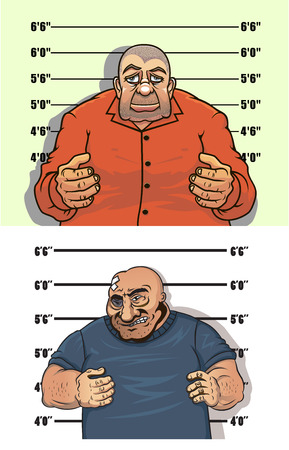 crook: Thief and bandit characters posing facing the viewer on the height chart, police mug shop style Illustration
