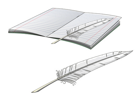 plume: Writers plume pen with open book with lined blank pages, isolated on white for education concept design Illustration