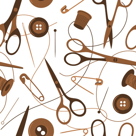 cotton thread: Seamless background pattern of sewing accessories in shades of brown scattered on a white background with scissors, thread, button, safety pin and thimble, vector illustration Illustration