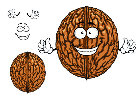 hard crust: Smiling happy whole fresh walnut character in its shell with waving arms with a second plain variant with no face and separate elements