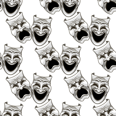 theater masks: Cartoon theater masks seamless pattern for entertainment and culture design