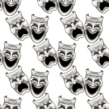 mascaras de teatro: Máscaras de teatro de dibujos animados patrón transparente para el entretenimiento y la cultura del diseño Vectores