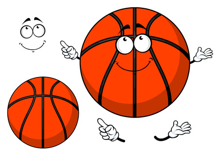 Smiling cartoon basketball ball with a cute grin and waving arms with a second plain variant with no face and separate elements Vector