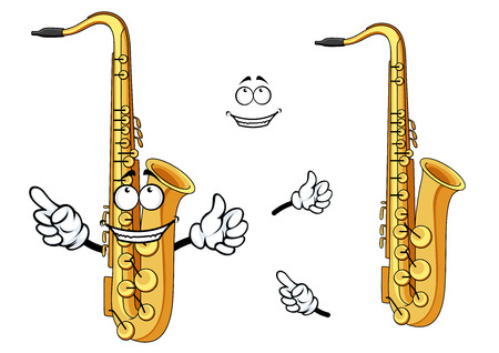 Side view of a happy cartoon saxophone instrument character with a grinning face and waving arms with a second plain variant with no face and separate elements