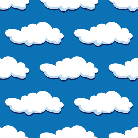 Blue cloudy sky seamless pattern for nature or background design