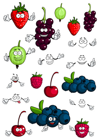 Cartoon healthy berries and fruit characters with cherry, strawberry, raspberry, blueberry, gooseberry and currant for fresh nutrition food concept design, isolated on white background Vector
