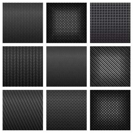 Assorted gray carbon, fiber and metallic textured pattern in squares for background design