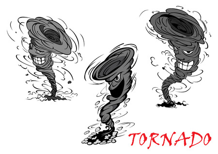 crush: Nasty grey cartoon tornado, hurricane and thunderstorm characters with danger smiles Illustration