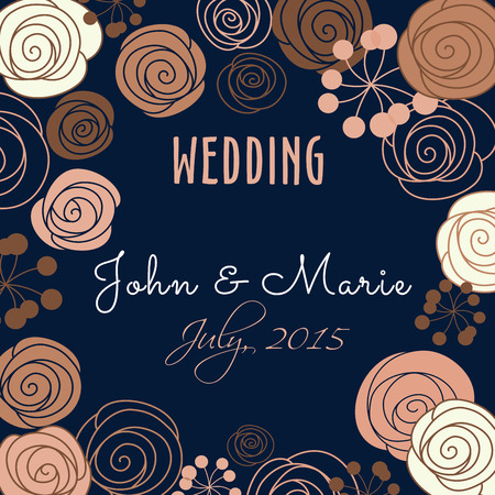 vintage bride: Wedding invitation template with a floral border and central text in retro style in square format