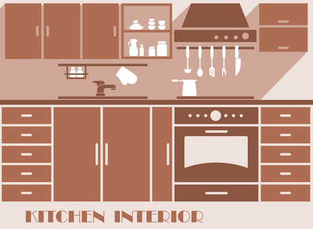 kitchen equipment: Kitchen interior design graphic in shades of brown of a modern fitted kitchen with cabinets and appliances