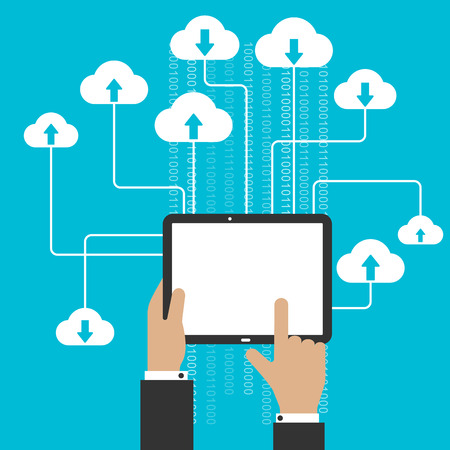 Cloud cstorage and omputing service concept with a man uploading and downloading information from the cloud onto a blank tablet computer Vector