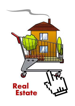 real estate industry: Shopping cart with house pointed by hand cursor for real estate industry concept design Illustration