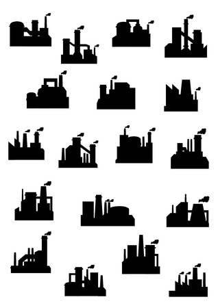 polluting: Industrial factories and refineries icon set with black silhouettes of installations with chimneys belching polluting smoke Illustration