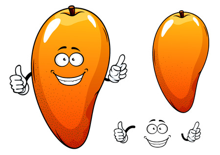 mango juice: Ripe juicy tropical mango fruit character with a happy face giving a thumbs up, with a second plain variant with no face and separate elements Illustration