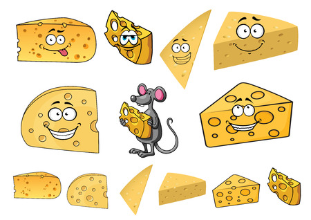 mouse hole: Wedges of happy cartoon cheese with smiling faces with a cute little a mouse in thwe center and second variations with no faces