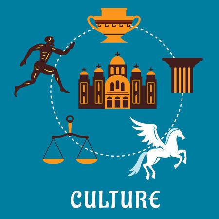 antigua grecia: Cultura Grecia concepto con los iconos planos clásicos que representan un corredor griego, capital de una columna, pegaso, ánfora, escalas y el templo sobre un fondo azul