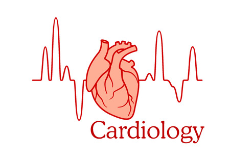 Cardiology concept with an ECG tracing of the heart beat and heart in a healthcare and medical concept 向量圖像