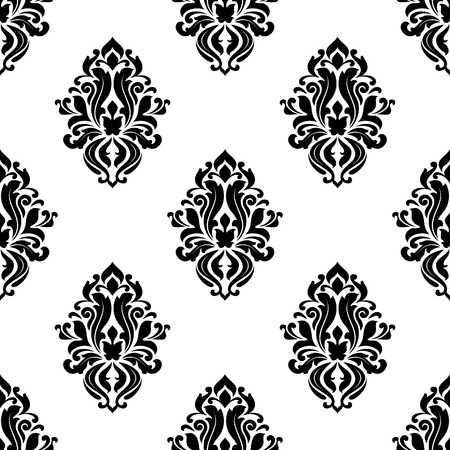 dainty: Decorative damask floral seamless pattern with dainty black flowers in retro style for wallpaper or another interior design Illustration
