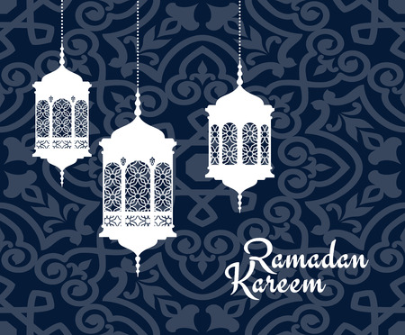 arabic: Hanging arabic lanterns or lamps for Ramadan Kareem holiday greeting card design Illustration
