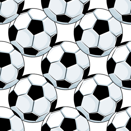 leather stitch: Football or soccer balls seamless pattern for sports background and tournament design Illustration