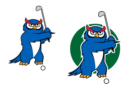 golf cartoon characters: Cartoon owl playing golf with two variations, one with green grass behind, for sports mascot design Illustration