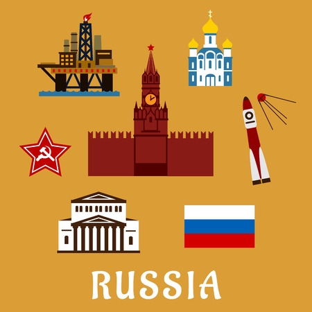 kremlin: Russian travel icons and symbols with Big Theater, Kremlin,  temple, rocket and satellite, star, oil rig and flag with text  Russia  below