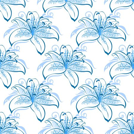 pistil: Light blue lily floral seamless pattern for interior wallpaper, background or textile design