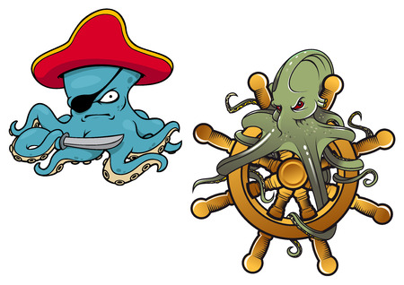 eye patch: Two fun cartoon octopus with the first dressed as an evil pirate with eye patch and the second entwined around a helm