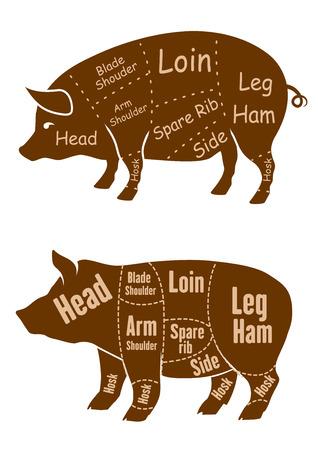 costillas de cerdo: Cerdos marrones carnosos con diferentes contornos de diferentes cortes de carnicer�a de carne de cerdo al por menor y el dise�o carnicer�a