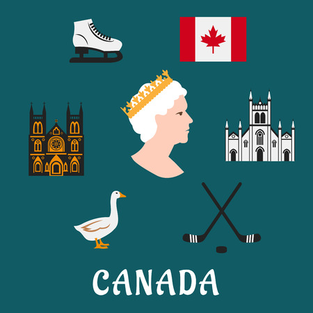canada goose: Canada travel flat icons and symbols depicting the Queen, commonwealth, ice skates and ice hockey, flag, landmarks and goose over blue Illustration