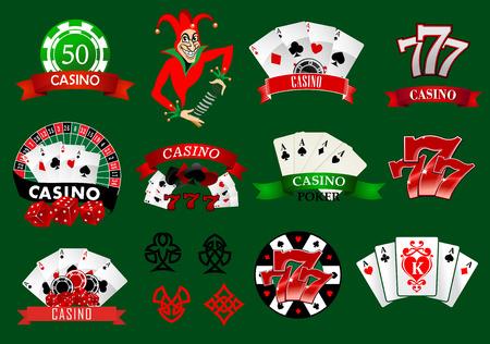 ruleta casino: Conjunto de iconos de casino de colores y emblemas con naipes, bromista, fichas, 777 n�mero de la suerte y pancartas variados, ilustraci�n vectorial