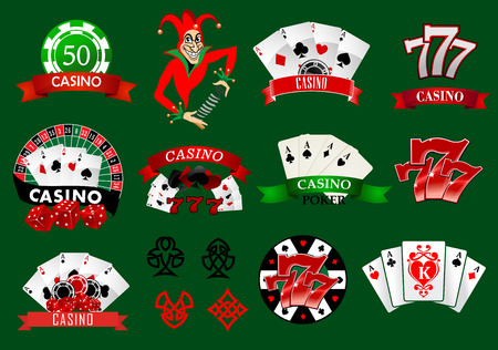 Set of colorful casino icons and emblems with playing cards, joker, tokens, 777 lucky number and assorted banners, vector illustration Illustration