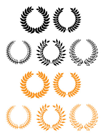 laurel wreath: Heraldic set of circular foliate and laurel wreaths in black and gold with various designs suitable for documents, awards or heraldry Illustration
